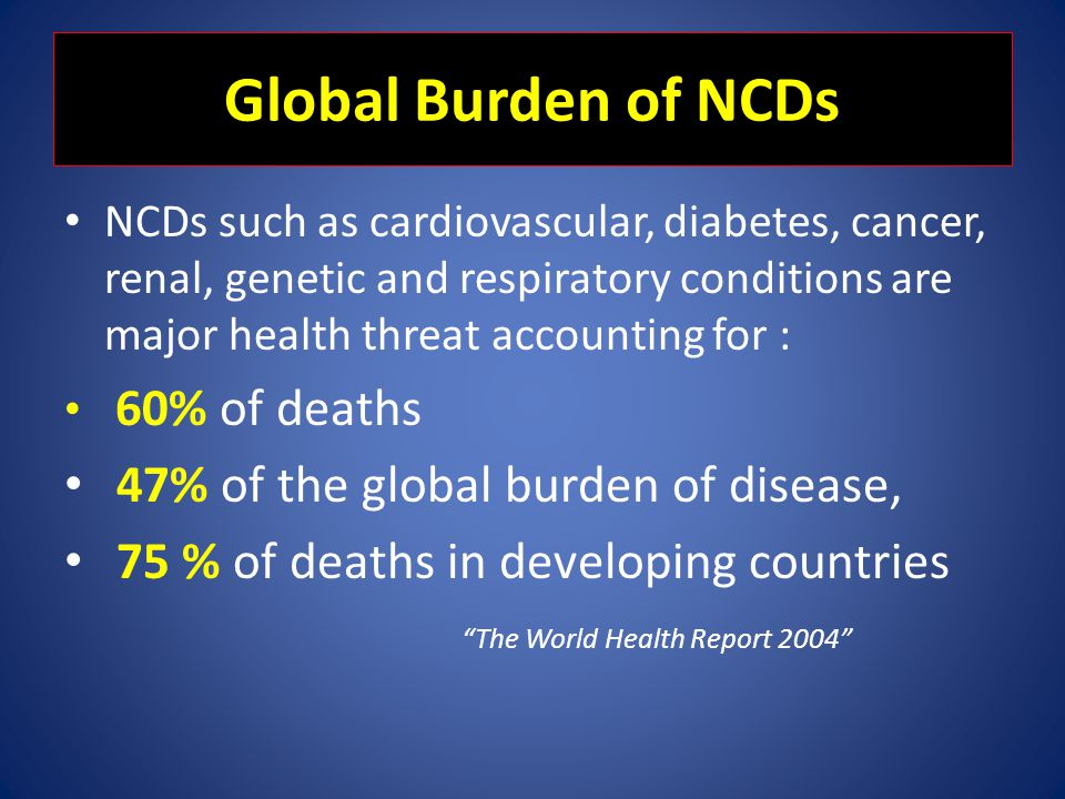 Global Burden of NCDs 47% of the global burden of disease,