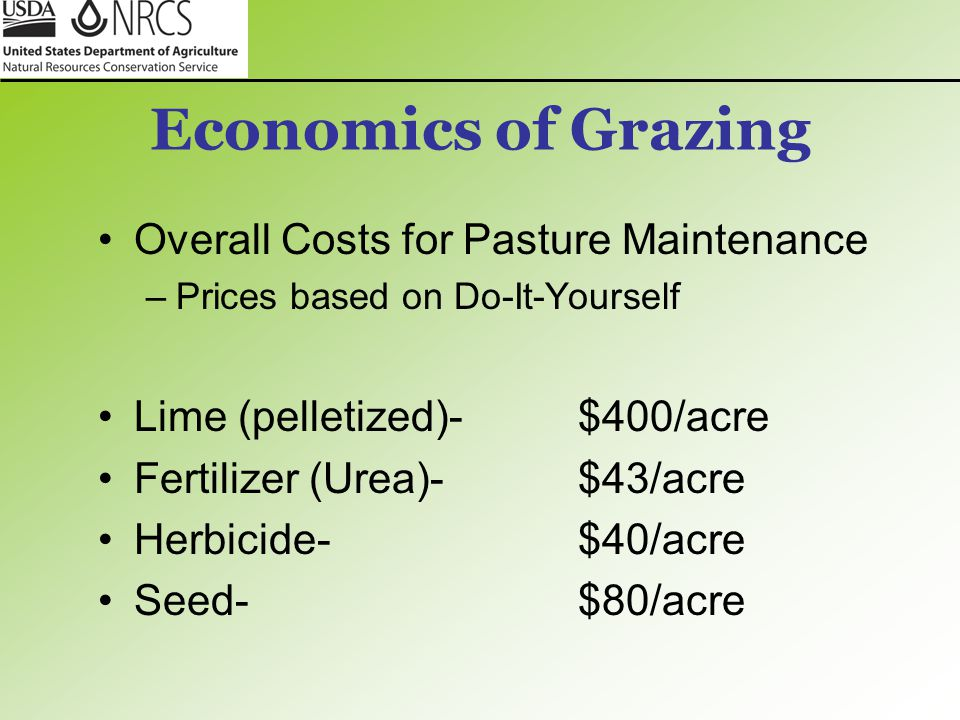 Economics of Grazing Overall Costs for Pasture Maintenance