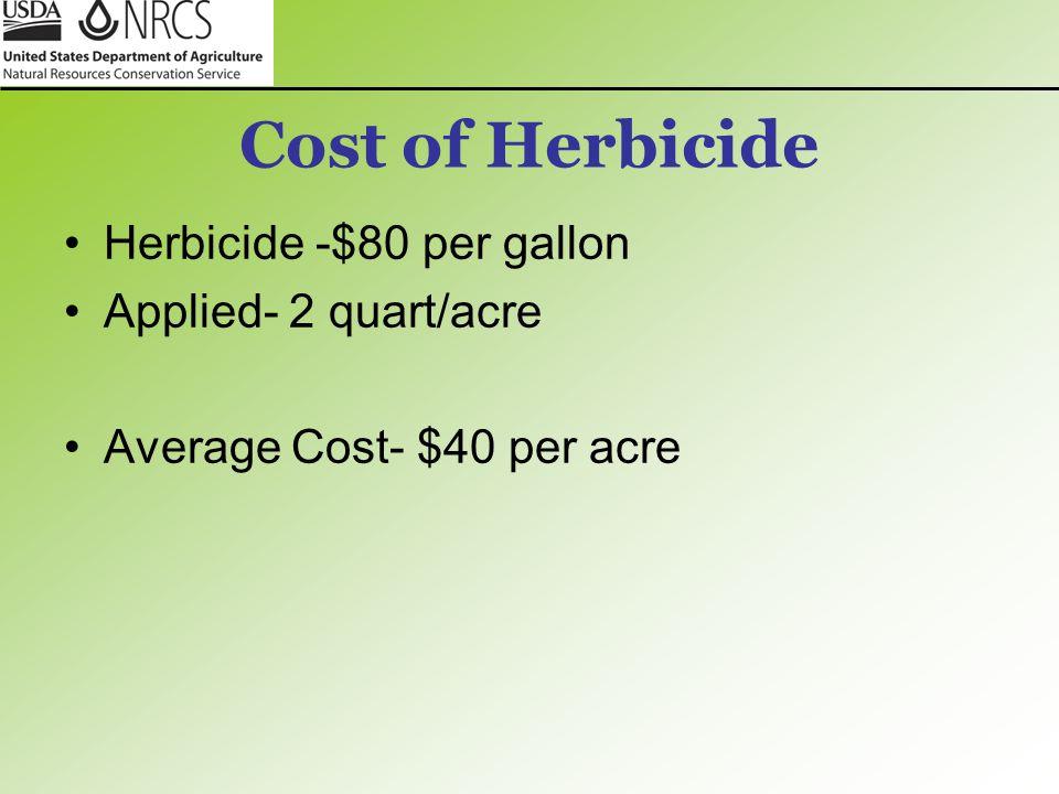 Cost of Herbicide Herbicide -$80 per gallon Applied- 2 quart/acre