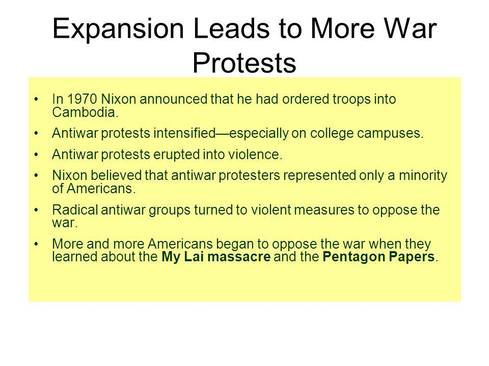 Expansion Leads to More War Protests