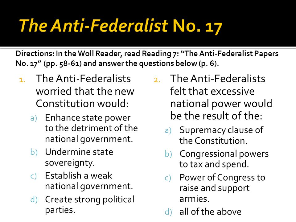 The Anti-Federalist No. 17
