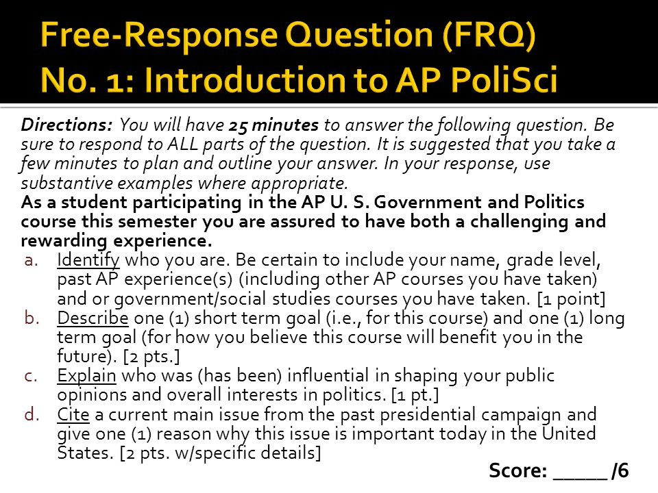 Free-Response Question (FRQ) No. 1: Introduction to AP PoliSci