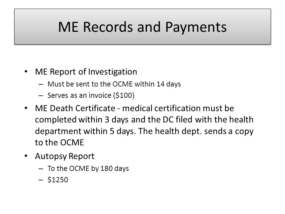 ME Records and Payments