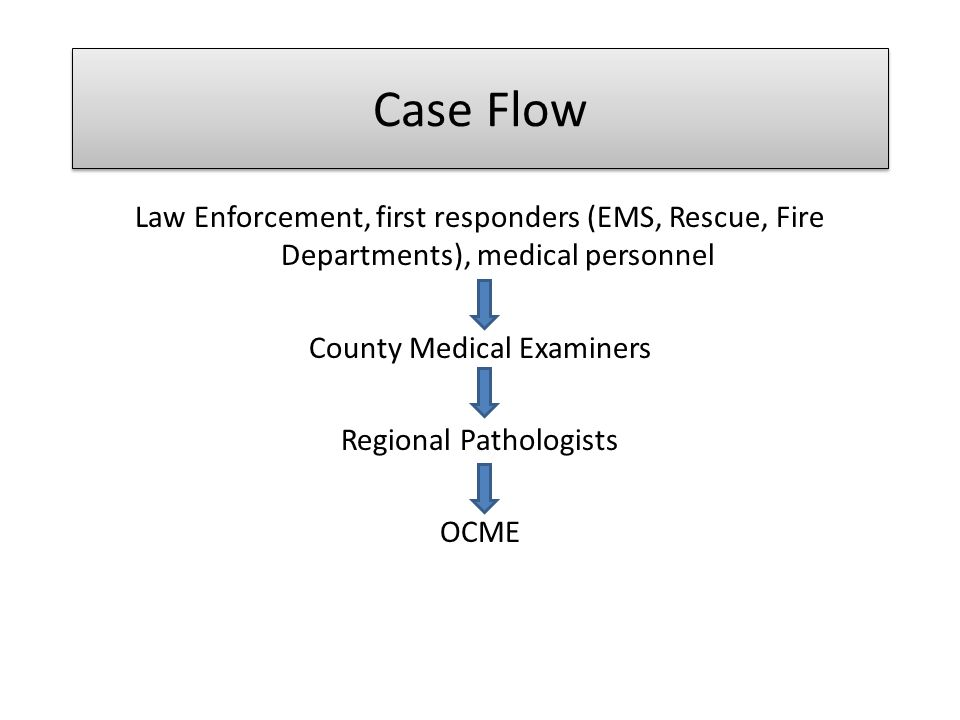 Case Flow Law Enforcement, first responders (EMS, Rescue, Fire Departments), medical personnel. County Medical Examiners.