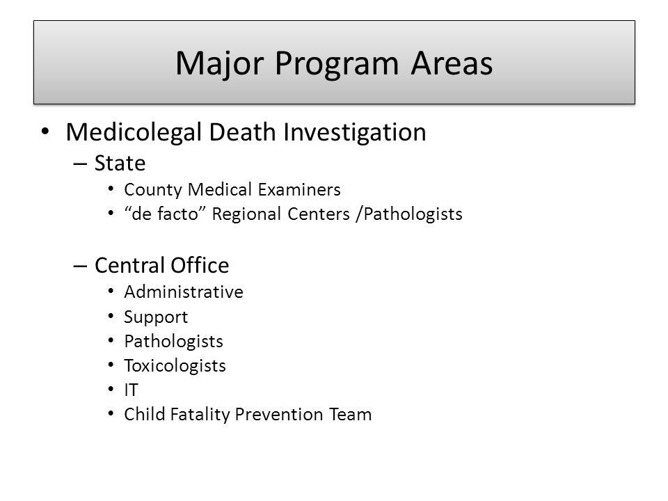 Major Program Areas Medicolegal Death Investigation State