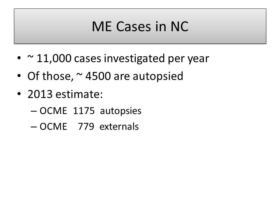 ME Cases in NC ~ 11,000 cases investigated per year