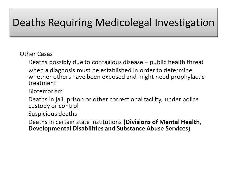 Deaths Requiring Medicolegal Investigation