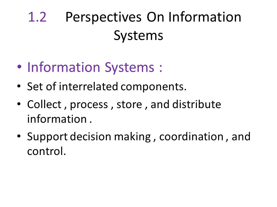 1.2 Perspectives On Information Systems