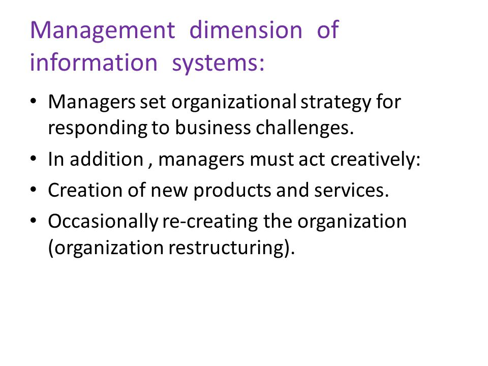 Management dimension of information systems: