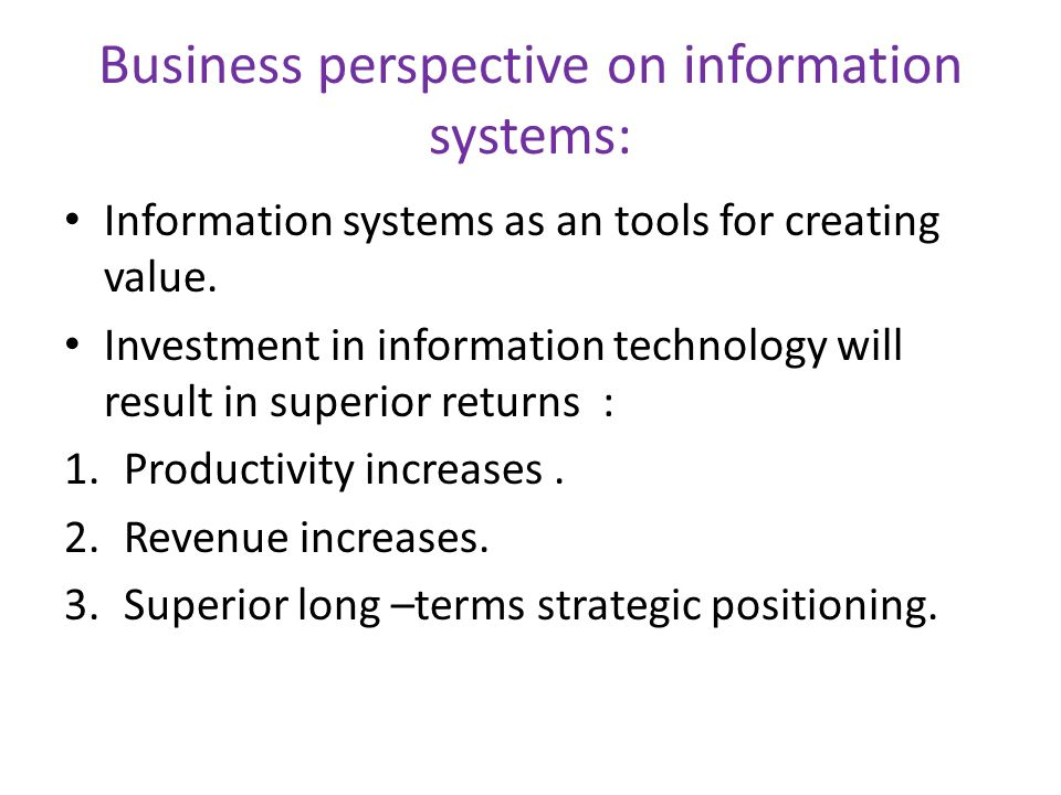 Business perspective on information systems: