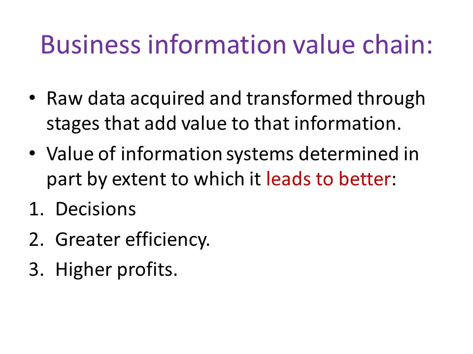Business information value chain: