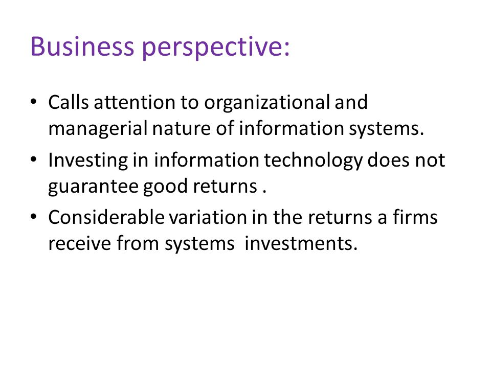 Business perspective: