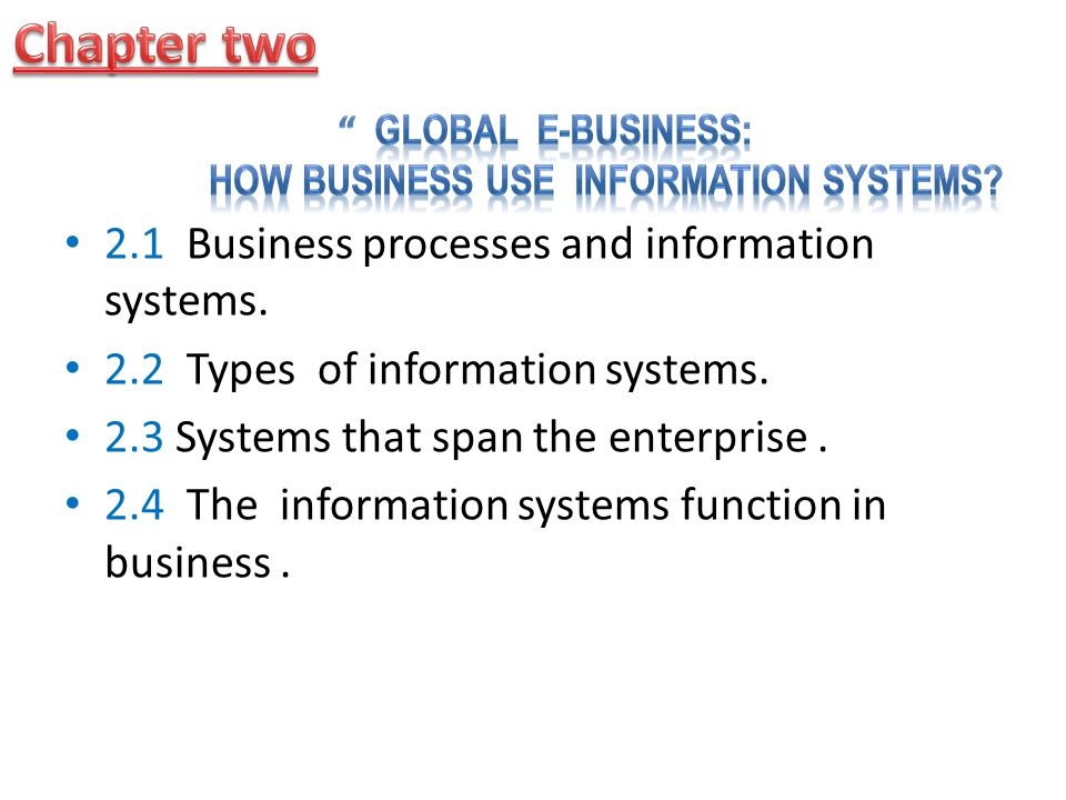 Global E-Business: How Business Use Information Systems