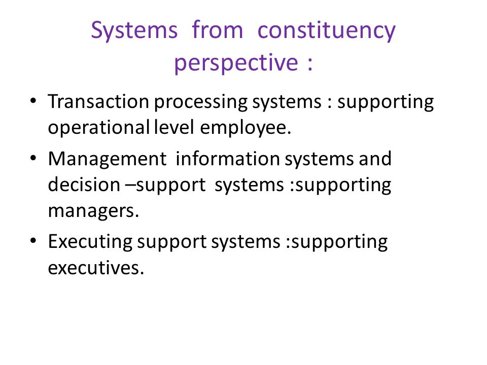 Systems from constituency perspective :