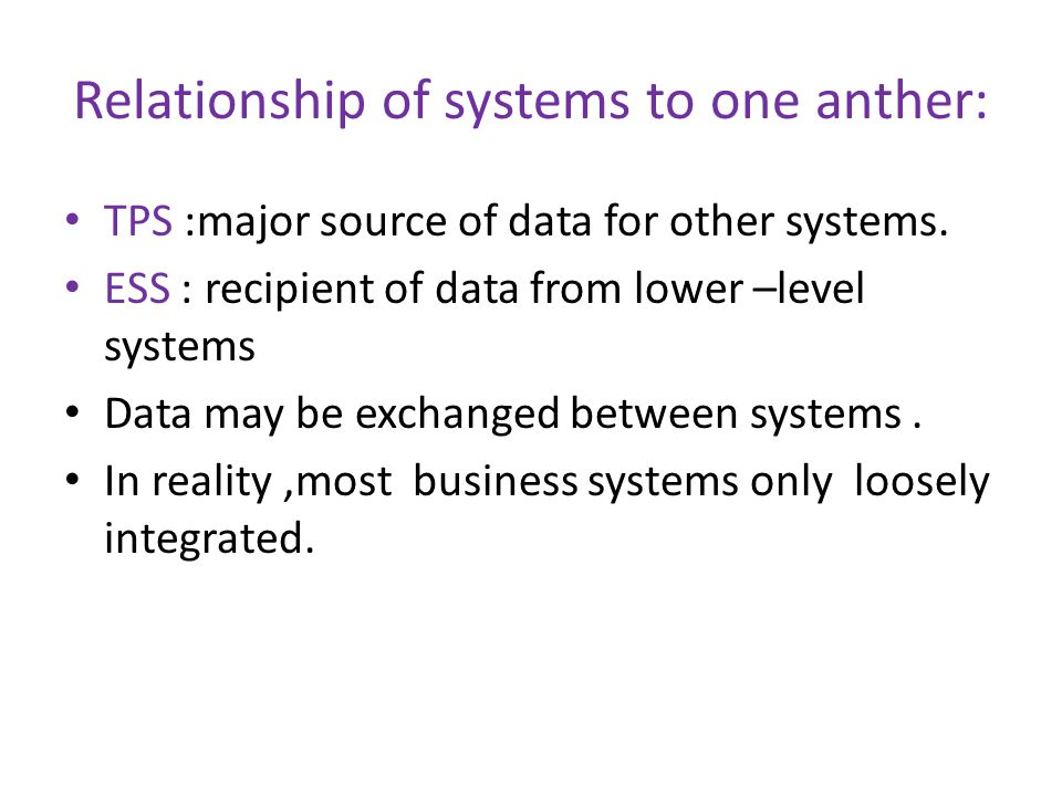 Relationship of systems to one anther: