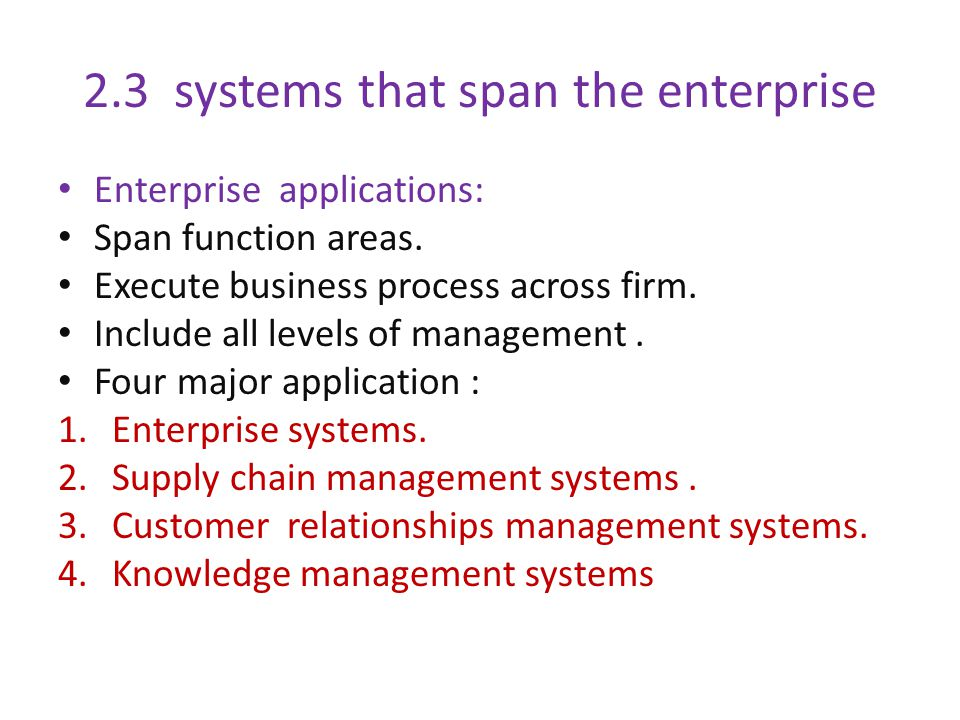 2.3 systems that span the enterprise