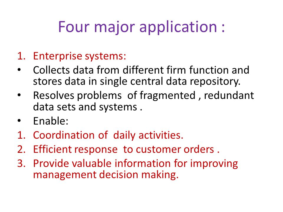 Four major application :