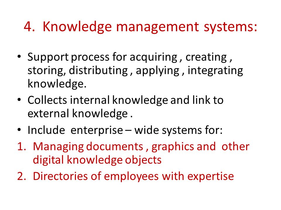 4. Knowledge management systems: