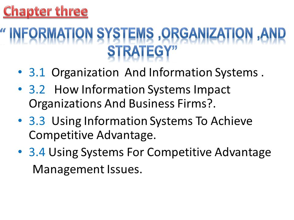 Information Systems ,Organization ,and Strategy