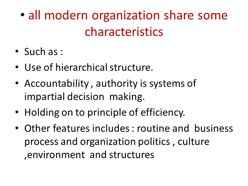 all modern organization share some characteristics