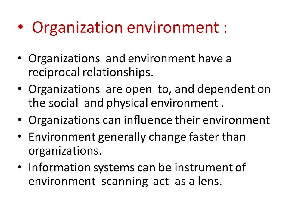 Organization environment :