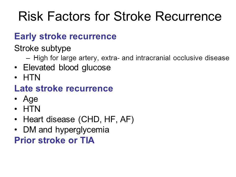 Risk Factors for Stroke Recurrence