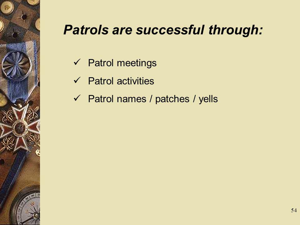 Patrols are successful through:
