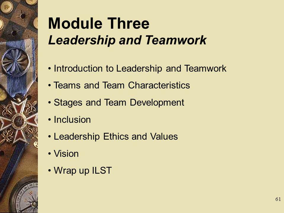 Module Three Leadership and Teamwork