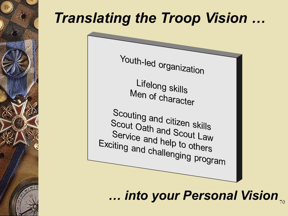 Translating the Troop Vision …