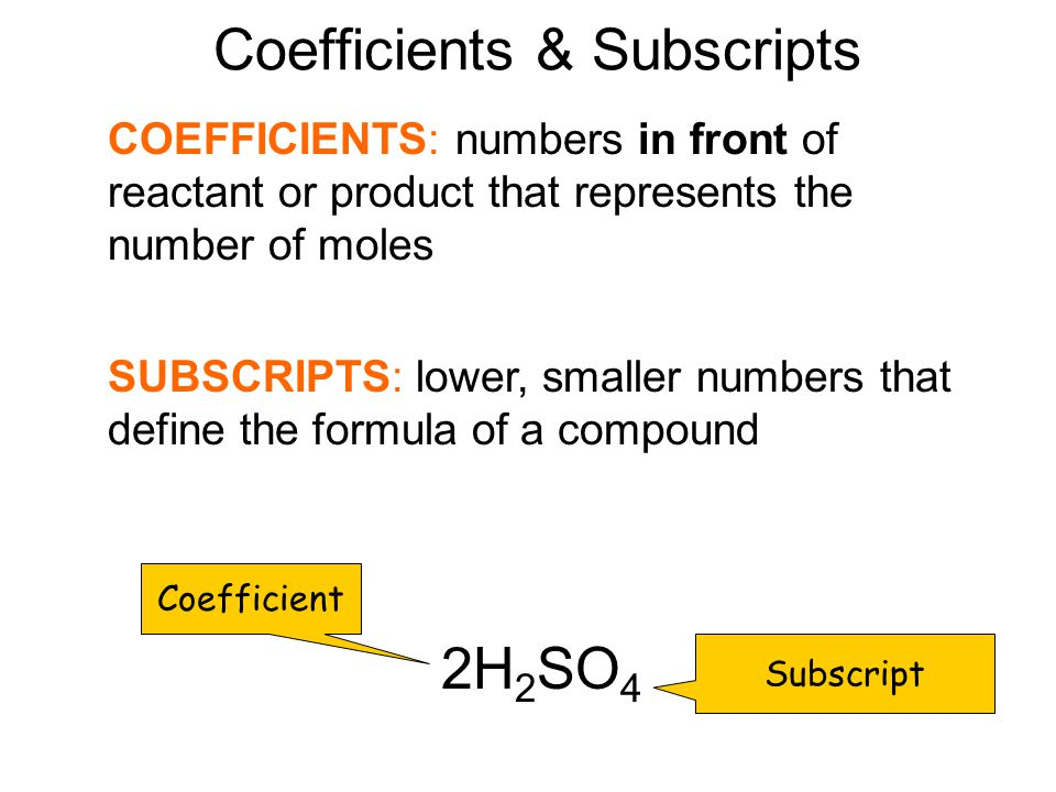 Coefficients & Subscripts
