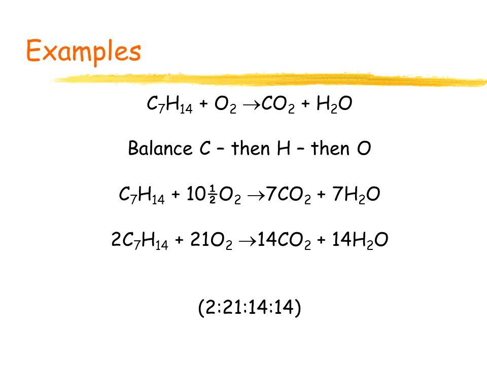 Balance C – then H – then O