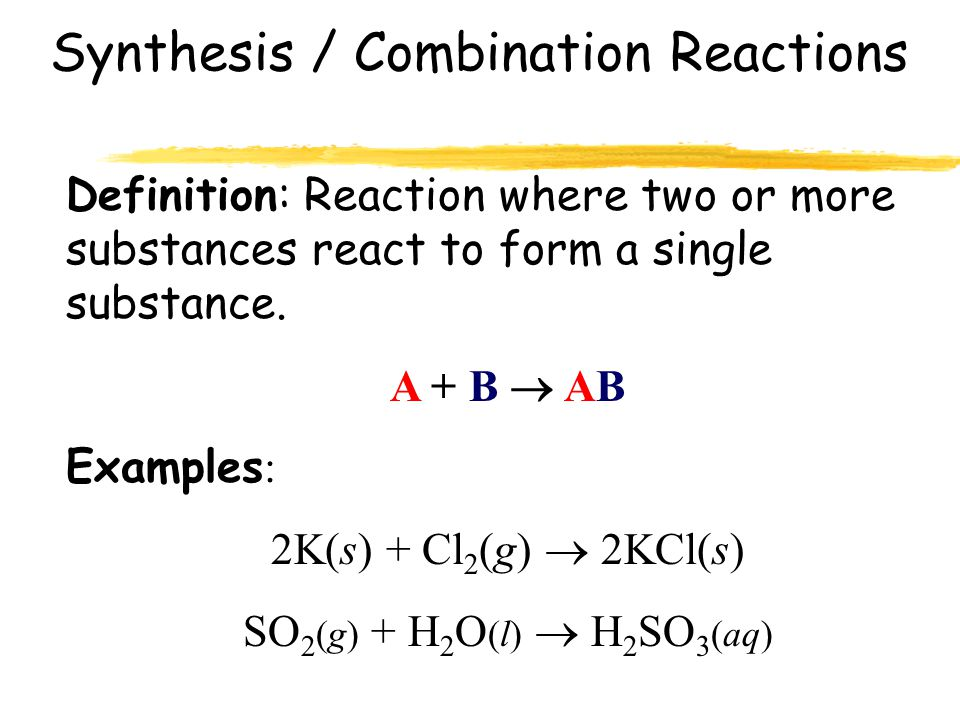 synthesis reaction examples We'll learn about the five major types of chemical reactions: synthesis,  we'll look at examples of each,  in a synthesis reaction,.