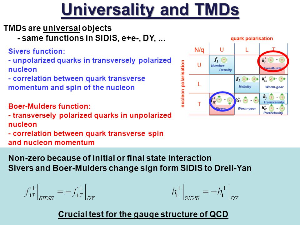 Universality and TMDs TMDs are universal objects