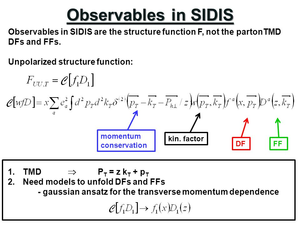 Observables in SIDIS Observables in SIDIS are the structure function F, not the partonTMD DFs and FFs.
