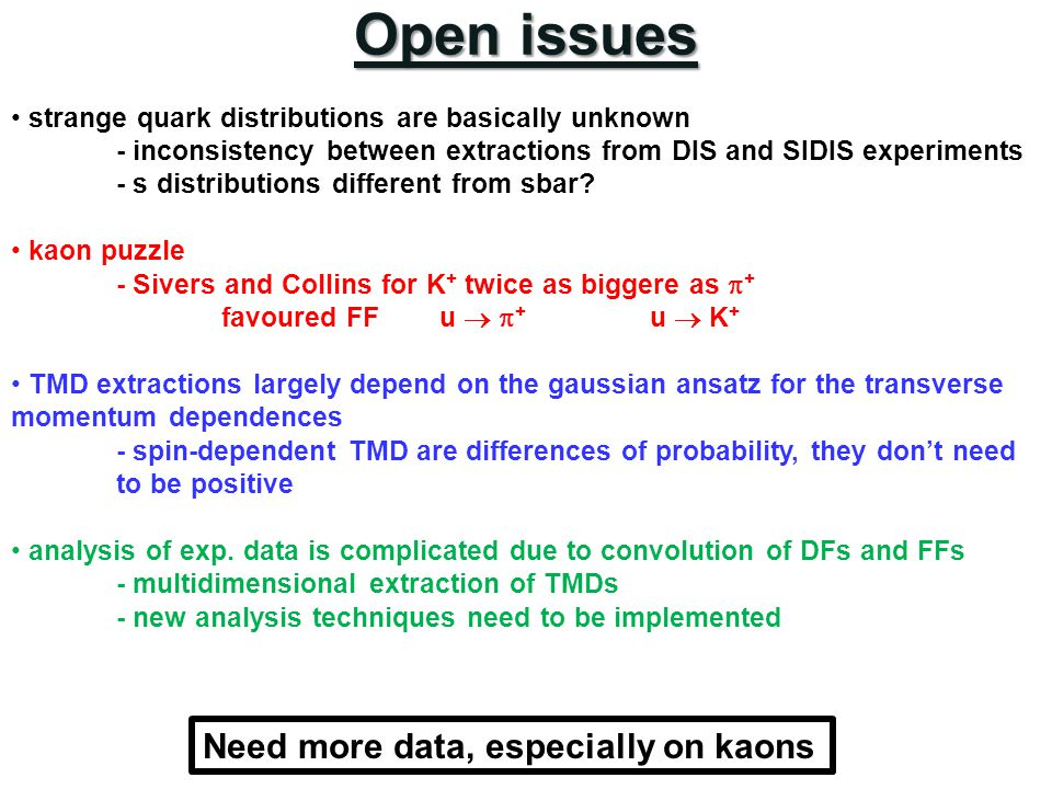 Open issues Need more data, especially on kaons