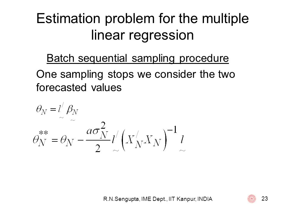 Estimation problem for the multiple linear regression