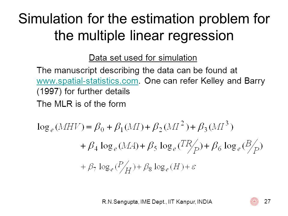 Simulation for the estimation problem for the multiple linear regression