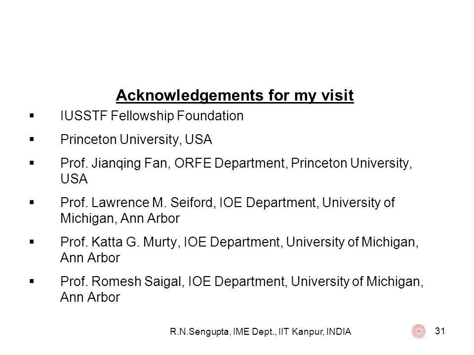 Acknowledgements for my visit