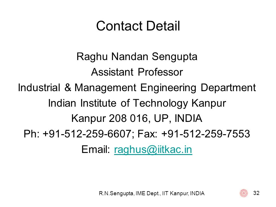 Contact Detail Raghu Nandan Sengupta Assistant Professor