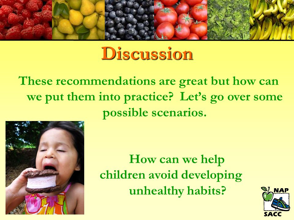 Discussion These recommendations are great but how can we put them into practice Let's go over some possible scenarios.