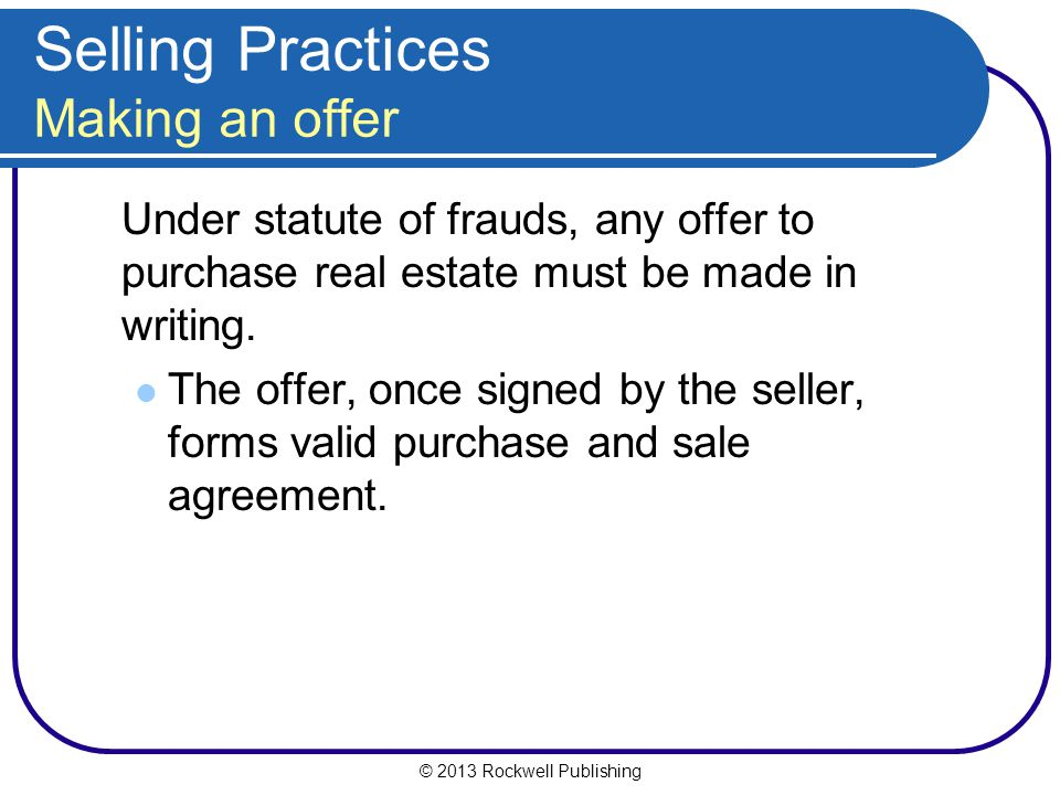 Selling Practices Making an offer