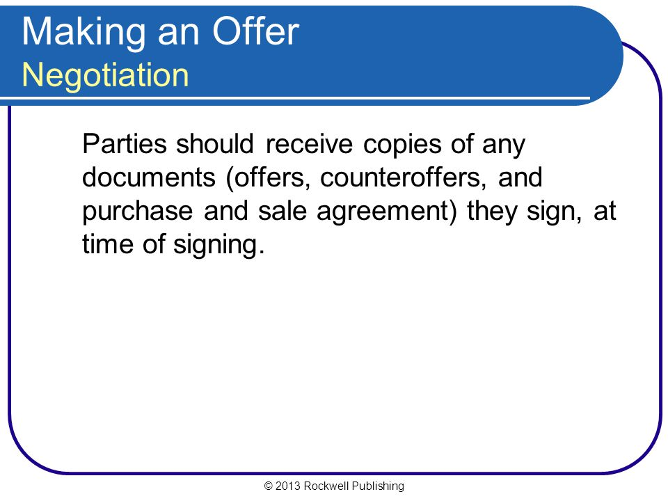 Making an Offer Negotiation