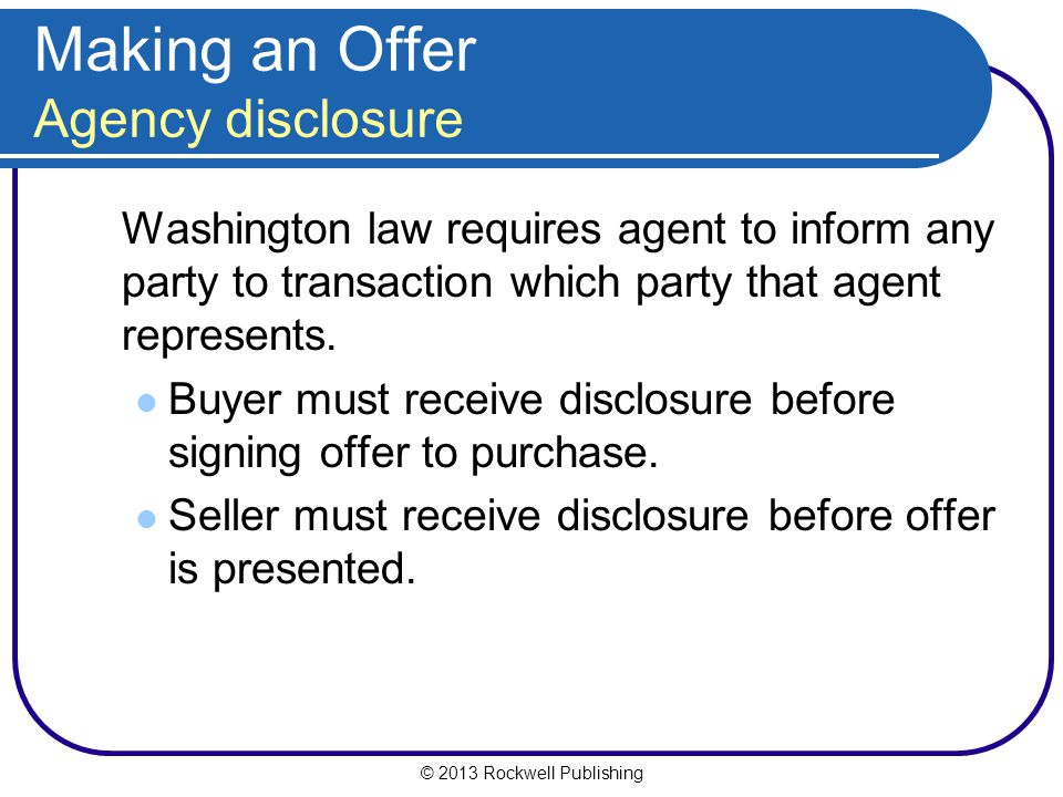 Making an Offer Agency disclosure