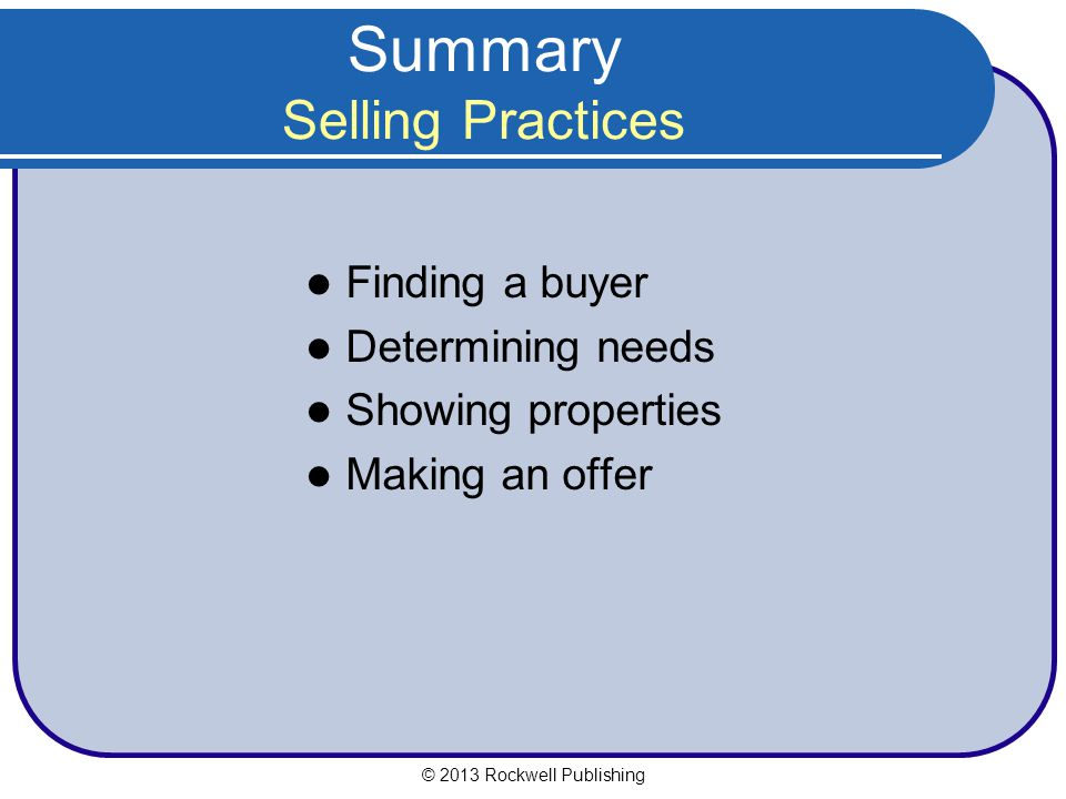 Summary Selling Practices