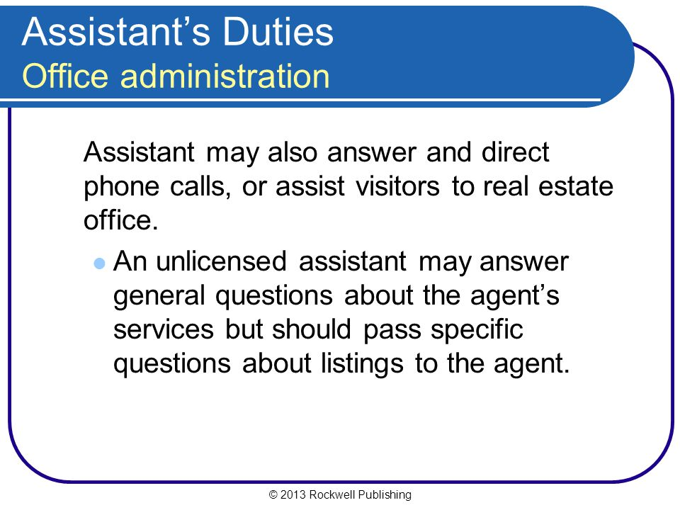 Assistant's Duties Office administration