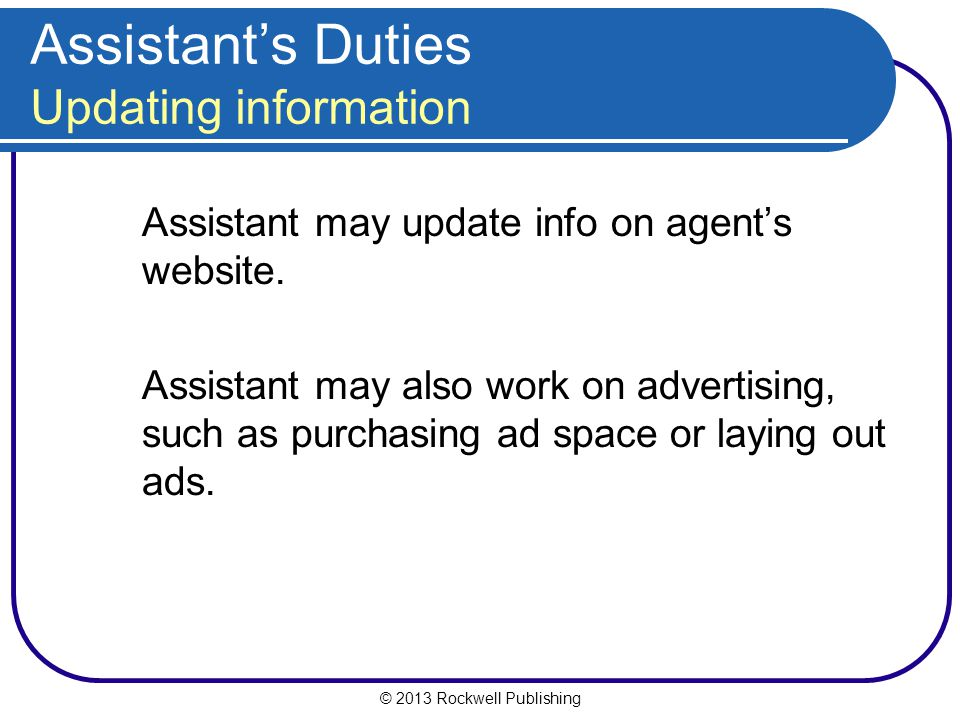 Assistant's Duties Updating information