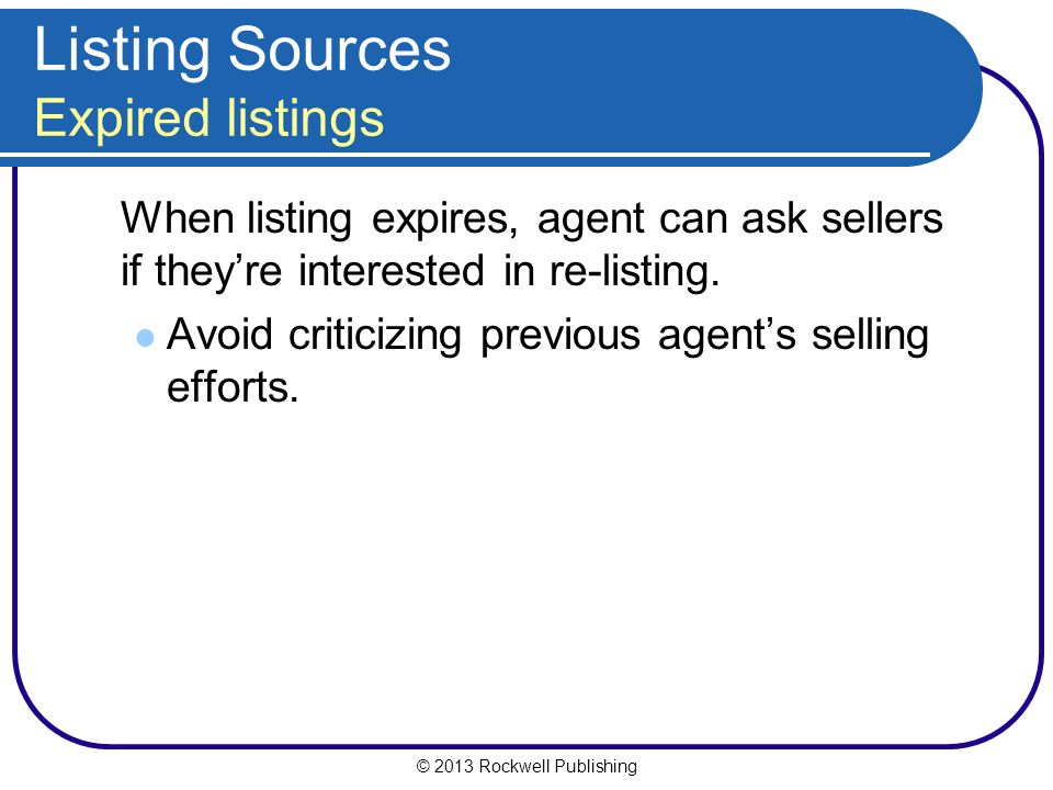 Listing Sources Expired listings