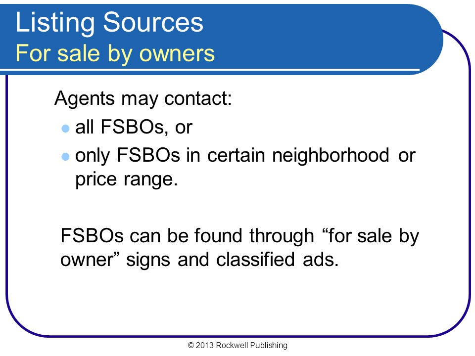 Listing Sources For sale by owners