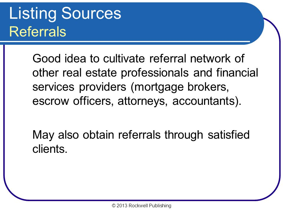 Listing Sources Referrals