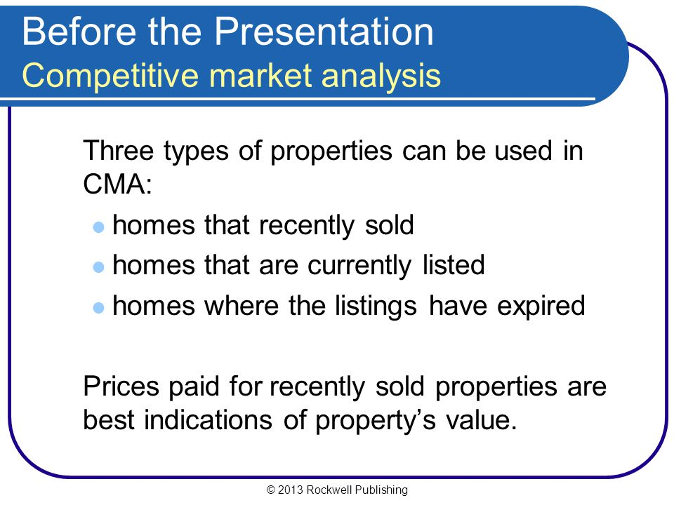 Before the Presentation Competitive market analysis